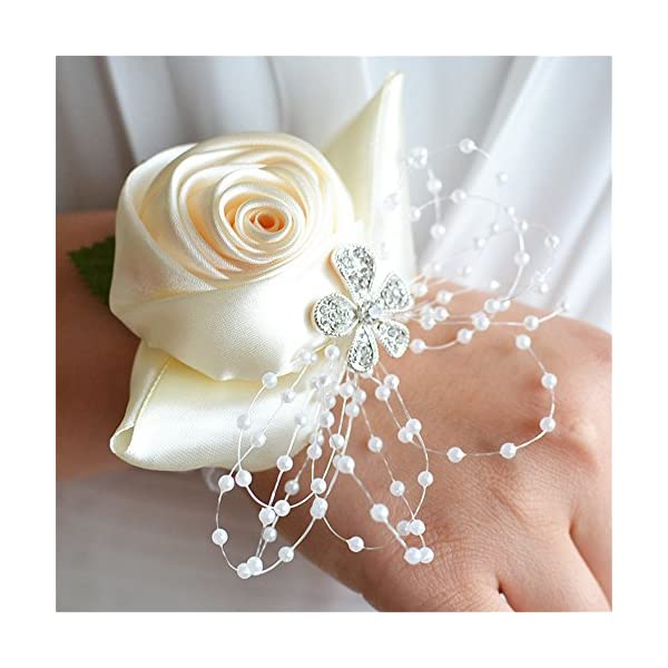 Jackcsale Wedding Bridal Corsage Bridesmaid Wrist Flower Corsage Flowers for Wedding Ivory Pack of 4