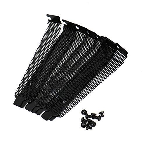 Pci Slot Heatsink - WSSROGY 10 Pcs Black Hard Steel Dust Filter Blanking Plate PCI Slot Cover with Screws