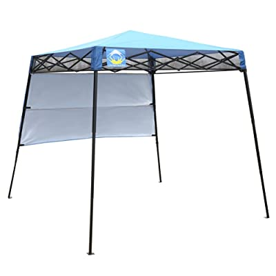 CROWN SHADES 8ft. x 8ft. Slant Leg Instant Canopy with Wall Panel and Backpack, Blue : Garden & Outdoor