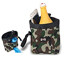 Camouflage Pet Dog Activity Treat Bag / Snack Bag Puppy Obedience Agility / Behavioural Training Walking Pouch ,with Free Pet Poop Waste Bags (Green)
