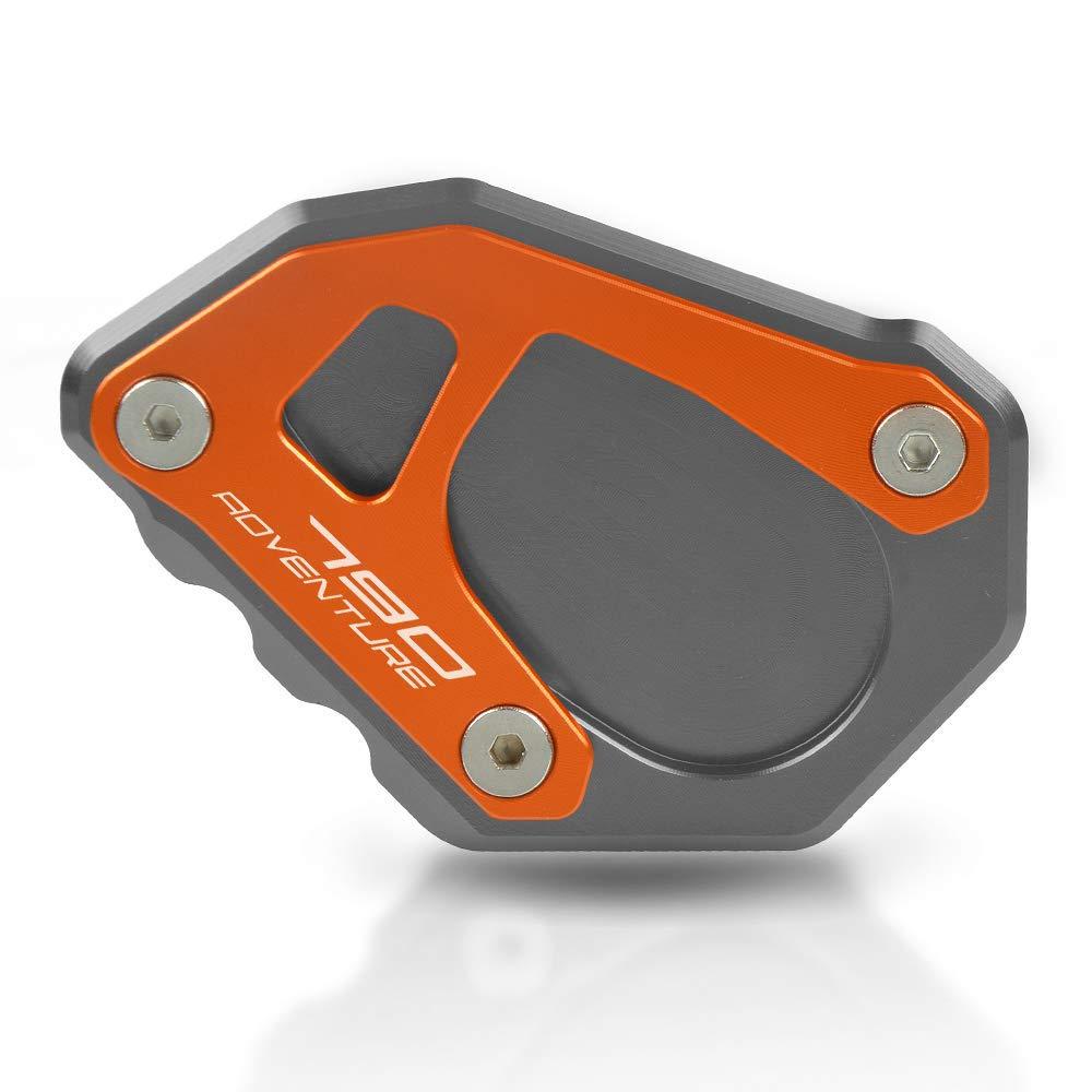 790 Adventure Motorcycle Kickstand Side Stand Extension Footprint Plate Pad For KTM 790 Adventure 2019 790 Adventure R 2019 790 Adventure S 2019 Titanium+Orange)