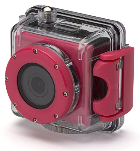 Kitvision Splash Waterproof Full HD 1080p Wasserfeste Sport Action Camera mit Halterungsset und Wasserdichtem Gehäuse für Unterwasserfotografie/Tauchen - Pink