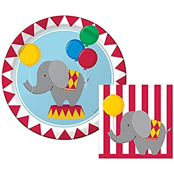 Circus Time Happy Birthday Lunch Napkins u0026 Dinner Plates Party Kit for 8  sc 1 st  Amazon.com & Amazon.com: Elephant - Party Tableware Plates Cups Napkins ...