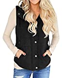Valphsio Womens Solid Turn Down Collar Drawstring Pockets Military Safari Anorak Utililty Vest