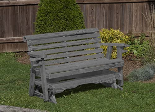 Amish Heavy Duty 800 Lb Roll Back Pressure Treated Porch Patio Garden Lawn Outdoor Glider with Cup Holders-5 Feet-Grey-Made in USA