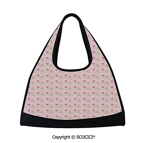 Fitness bag,Sweet Baby Figures with Checkered Patterns and Polka Dotted Hearts Decorative,Easy to Carry(18.5x6.7x20 in) Pale Pink Pistachio Green