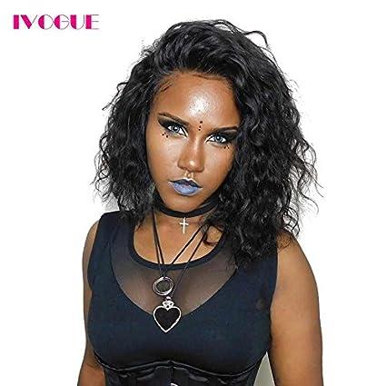 Corto Bob Full Lace Front Peluca de pelo humano para las mujeres negras Natural Wave pelo