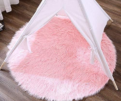 Soft Faux Sheepskin Fur Area Rugs Round Fluffy Rug