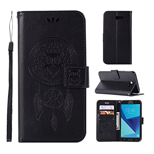 Samsung Galaxy J7 V Case/Galaxy J7 Perx Case/Galaxy J7 Sky Pro/J7 Prime/Galaxy Halo/J7 2017 Case, UZER Owl Windbell Wrist Strap PU Leather Kickstand Card Slots & Money Slot Wallet Cover