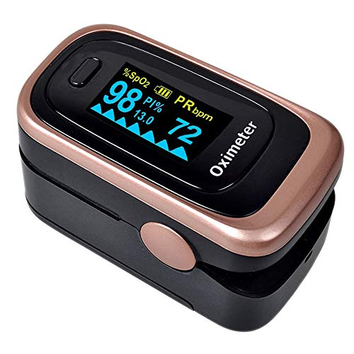 Oxygen Saturation Monitor, Wrinery Premium Pulse Oximeter Fingertip, Oxygen Monitor, O2 Saturation Monitor, OLED Portable Oximetry with Batteries, Lanyard (Rose gold-Royal black)