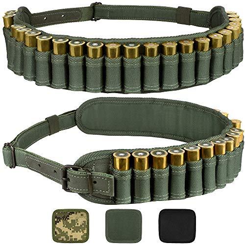 BronzeDog Waterproof Shotshell Holder Nylon Belt Case Ammo Gauge Adjustable Shotgun Rounds Shoulder Bandolier Hunting Accessories 12 16 Gauge (Plain Green)