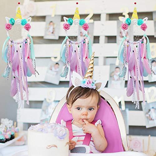 AerWo Unicorn Dream Catchers for Kids, Handmade Flower Pink Dream Catcher for Girls Bedroom Wall Hanging Decoration Kids Room Decor