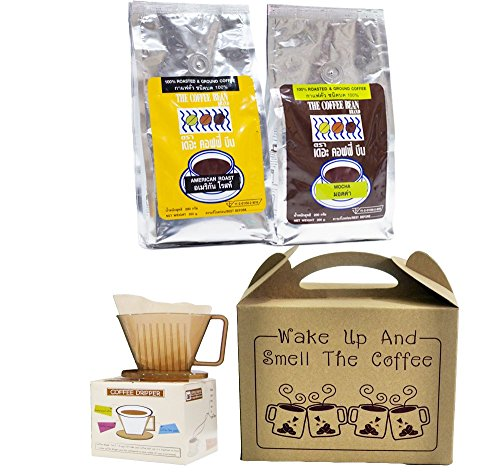 2 x Packs Coffee Bean Gift sets Mocha+American 100% Roasted with Paper Coffee Filters & Coffee Dripper