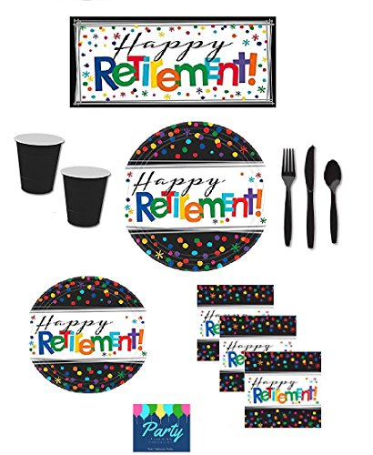 Retirement Party Supplies - Happy Retirement Plates, Napkins, Cups, Cutlery & Large Happy Retirement Banner