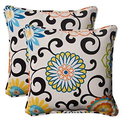 """Pillow Perfect Outdoor/Indoor Pom Play Lagoon Throw Pillows, 18.5"""" x 18.5"""", Black, 2 Pack - Includes two (2) outdoor pillows, resists weather and fading in sunlight; Suitable for indoor and outdoor use Plush Fill - 100-percent polyester fiber filling Edges of outdoor pillows are trimmed with matching fabric and cord to sit perfectly on your outdoor patio furniture - living-room-soft-furnishings, living-room, decorative-pillows - 51UqtzQv6DL. SS400  -"""