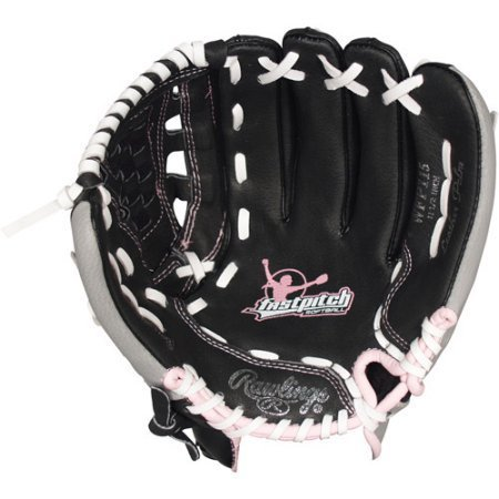 Fast Pitch Leather Softball Mitt Black with Pink Trim Left Hand (11.5'') by Rawlings