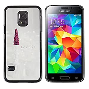 Paccase / SLIM PC / Aliminium Casa Carcasa Funda Case Cover para - December Christmas Tree Art White - Samsung Galaxy S5 Mini, SM-G800, NOT S5 REGULAR!