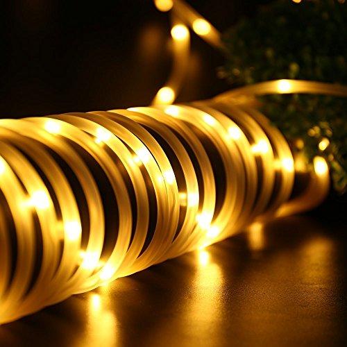 Tragbar Solar Lichtschlauch Lichterkette, 12m 100 LEDs, Wasserdicht IP65,Außenlichterkette, LED Lichterketten Für Hochzeit, Party und Weihnachten, Weihnachtsbeleuchtung, Warmweiß