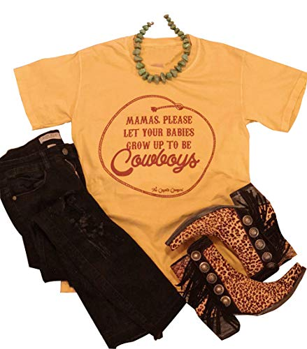Mamas Let Your Babies Be Cowboys Shirt Women Short Sleeve Country Music Graphic Top Tee Size L ()