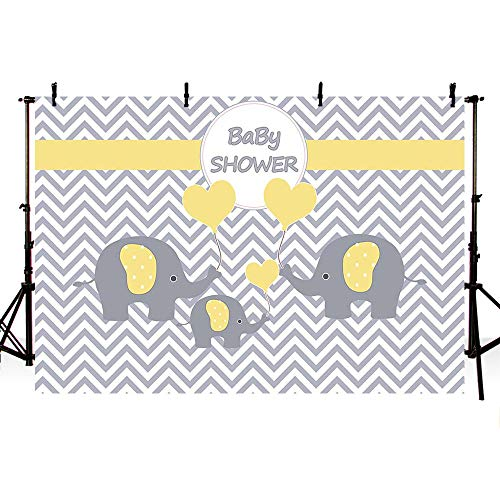 MEHOFOTO Family Three Yellow Elephants Unisex Baby Shower Backdrop Props Yellow and Gray Wave Little Peanut Love Shape Balloons Pattern Photography Background Photo Banner 7x5ft