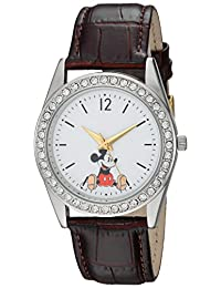 DISNEY Women's Mickey Mouse' Quartz Metal Casual Watch, Color:Brown (Model: WDS000379)