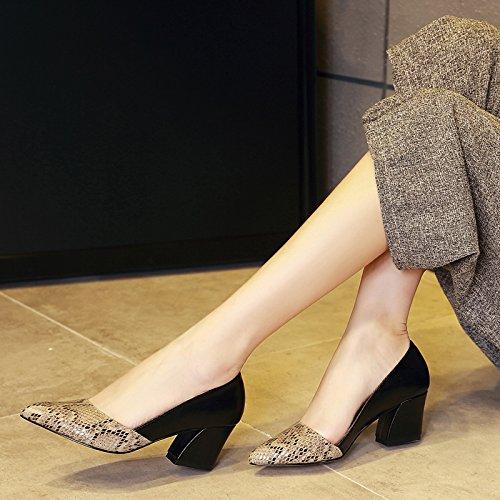 GTVERNH-herbst  europa europa europa und amerika schLängen muster dameneinzel grob hacken damenschuhe sagte high heels damen - schuhe 2d2c64
