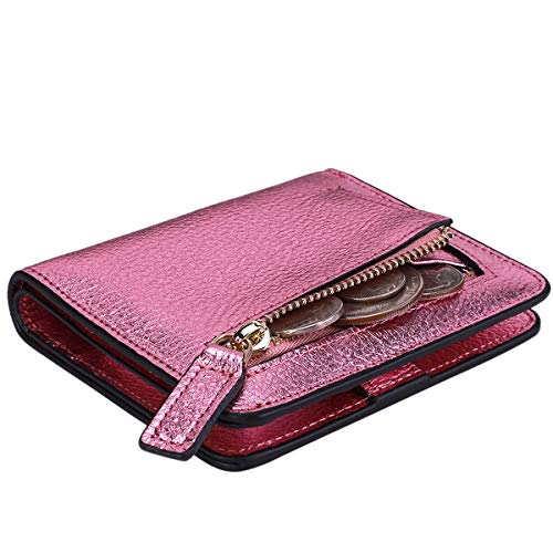 Itslife Women's Rfid Blocking Small Compact Bifold Leather Pocket Wallet Ladies Mini Purse with id Window (Pebbled Rose)