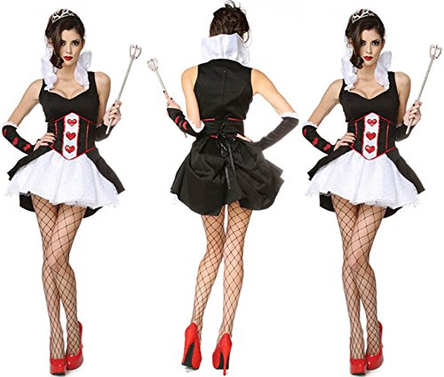 Barbie Fancy Dress Costumes For Adults (Cruel Queen of Hearts Dress Costume Full S/m Christmas Halloween Cosplay)