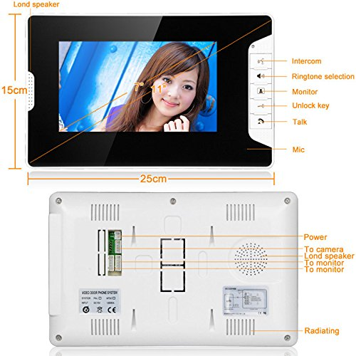 GAMWATER 7 Inch Video Door Phone Doorbell Intercom Kit 1-camera 2-monitor Night Vision with IR-CUT HD 1000TVL Camera Handfree intercom by GAMWATER (Image #3)