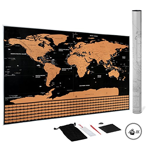 JDC DELUXE WORLD SCRATCH OFF MAP OF THE WORLD: PERFECT OFFICE GIFT,, EDUCATIONAL, ACCESSORIES INCLUDED | TRACK YOUR ADVENTURES | PERFECT FOR - Stress Pen Globe Ball