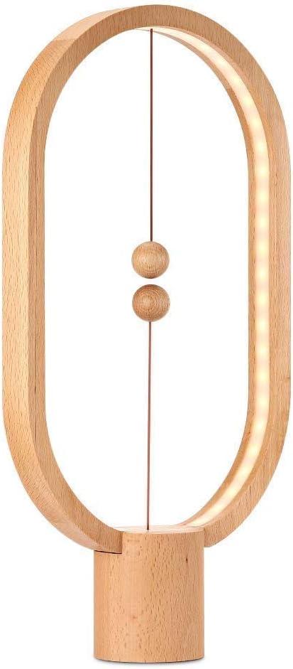 HWZQHJY Lámpara de escritorio magnética Ellipse Smart Balance LED Lámparas de cabecera y mesa Levitating Magic mid-air Interruptor de luz nocturna para el hogar Dormitorio y oficina (color : Beige)