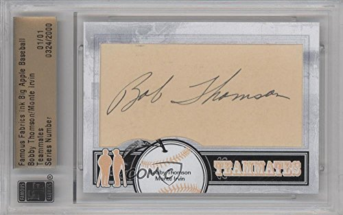 (Bobby Thomson; Monte Irvin Manufacturer ENCASED Cut Signature #1/1 (Baseball Card) 2012 Famous Fabrics Ink Big Apple Baseball - Teammates Cut Autographs #324)