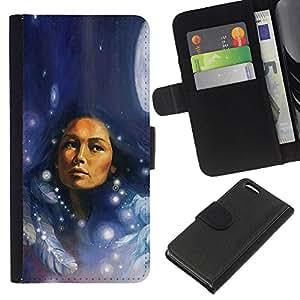Apple iPhone 5C , la tarjeta de Crédito Slots PU Funda de cuero Monedero caso cubierta de piel ( Native Indian Woman Feathers Moon Night)