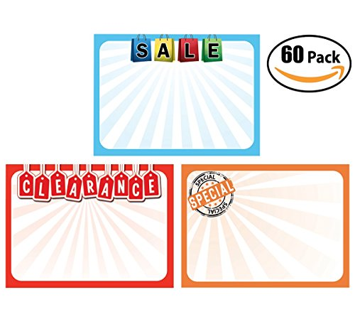 Retail Genius Price Tag 60 Sign Variety Pack. Big 5x7 Display Tags Boost Business.