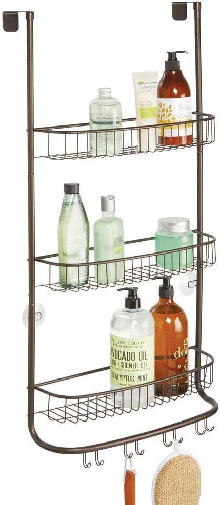 Bathroom Storage Organizer Bronze mDesign Metal Hanging Over Shower Door Caddy