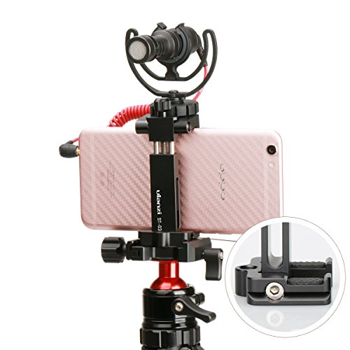 Ulanzi ST-03 Metal Smart phone Tripod Mount with Cold Shoe Mount and Arca-Style Quick Release Plate for iPhone 7 Plus Samsung HuaWei,Cell Phone Tripod Holder Clip Adapter for JOBY GorillaPod (Black) by Ulanzi