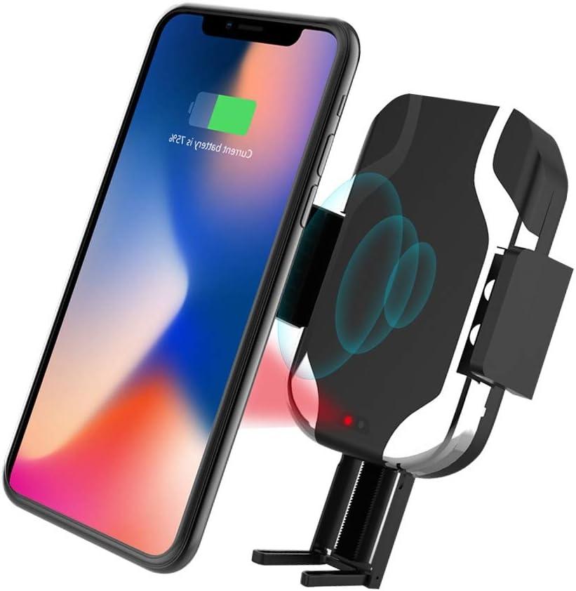Cargador De Coche Inalámbrico, Rotación De 360 ° Infrared Sensor Phone Holder Samsung S10/S10e/S10+/S9/S8/S8+/Note 8,7.5W Para IPhone XS/XS Max/XR/X/8/8 Plus, QI-enabled: Amazon.es: Coche y moto