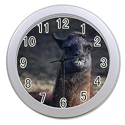 Dong Cun Bai a Hipster Llama Lama Personalized Custom Alarm Clock Children Bedroom Custom Wall Clock Black Unique Custom Wall Clock