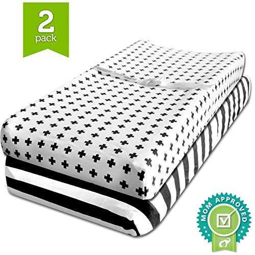 Strap Furniture Collections (Changing Pad Cover, Cradle Bassinet Sheets Fitted Jersey Cotton (2 Pack) Black, White by Ziggy Baby)