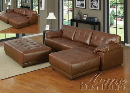 Acme Furniture 50170 Orian Brown Bonded Leather Match Sectional