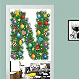 3D printed Magic Stickers Door Curtain,Letter N,Capital N in Green Color with Coniferous Leaves Bells Bowknots Hearts and Stars Decorative,Multicolor ,Privacy Protect for Kitchen,Bathroom,Bedroom(1 P