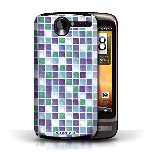 Etui / Coque pour HTC Desire G7 / Violet/Vert conception / Collection de Carreau Bain