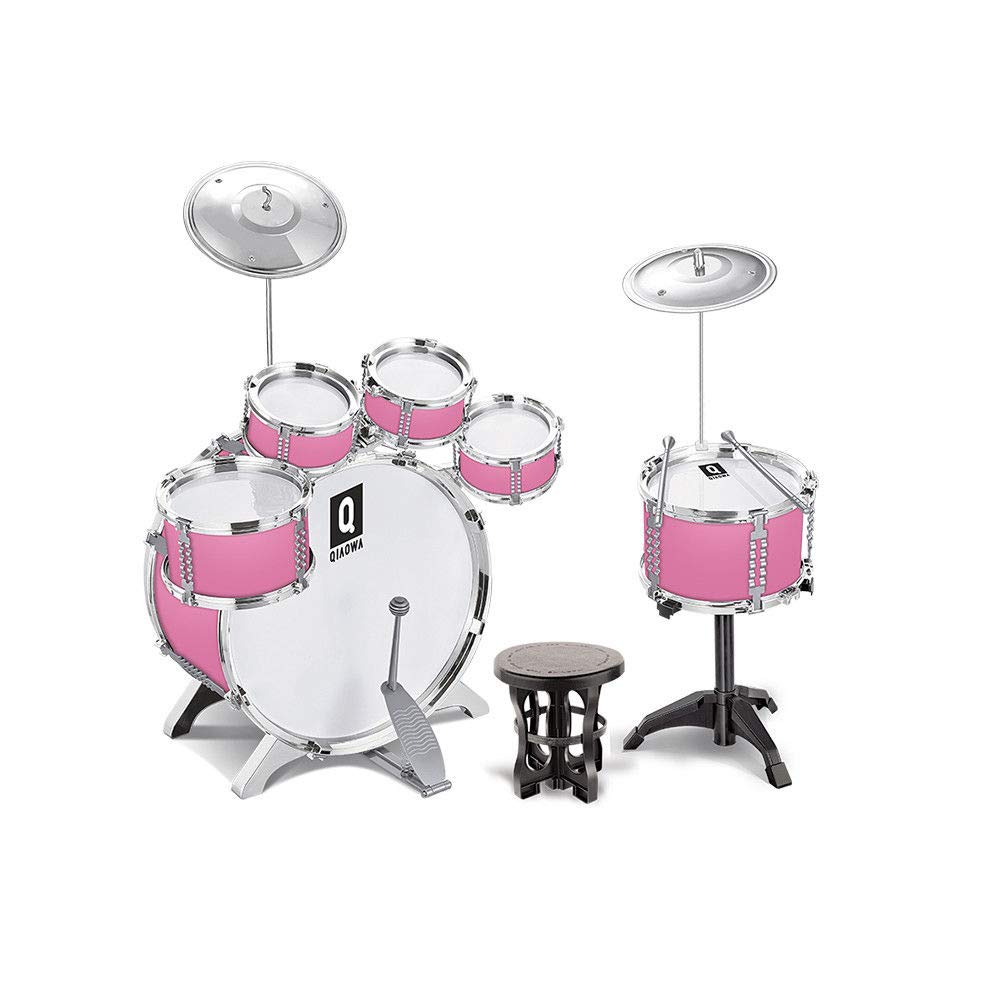 iMeshbean Drum Set - 5/6 Drums, Cymbal, Chair, Kick Pedal, 2 Drumsticks, Stool - Little Rockstar Kit, Gift Toy for Teens, Boys & Girls (Pink 6 Drums)