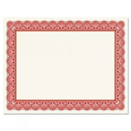 Elite Red Certificate on White Parchment - Set of 50, 8-1/2