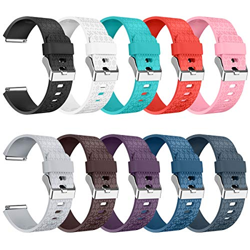 AIUNIT Compatible Fitbit Blaze Bands Large, Replacement for Fitbit Blaze Accessories Wristband Watch Sport Strap for Fitbit Blaze Smart Tracker Women Men Teends Laser Texture 10 Pack No Tracker
