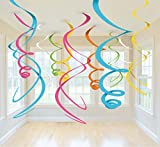Amscan Multicolored Plastic Swirls, 12 Ct. | Party Decoration, 22""