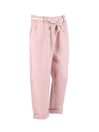 c77ab3ea7258f LushStyleUK New Ladies Italian Plain Linen Pocket Trouser Women Waist Belt Trouser  Plus Size (Beige)  Amazon.co.uk  Clothing