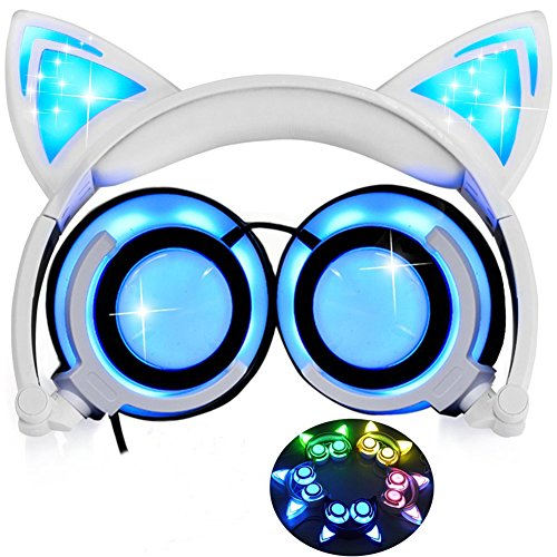Cat Ear Kids Headphones with Glowing Light,Foldable Rechargeable Wired Headset for Smartphone,Computer,MP3 (White)