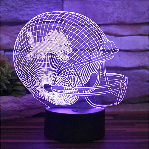 Novelty Lamp, New Detroit Lions American Football Cap USB 3D Illusion Bedroom Night Light Room Decoration 16 Color Change Acrylic LED Remote Control Desk Lamp Home Decoration Children's Toys Holiday G ()