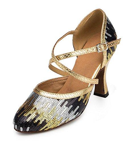 Minitoo TH135 Pailletten-Kreuzband, Hochzeit, Ballsaal, Latin, Tango, Tanz-Pumps, Damenschuhe aus Kunstleder, Gold - Gold/Black-8cm Heel - Größe: 35